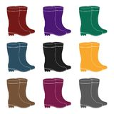 Yellow rubber waterproof boots for women to work in the garden.Farm and gardening single icon in black style vector Royalty Free Stock Photos