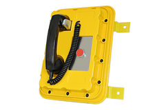 Yellow rugged telephone. For outdoor emergency call and sos service Stock Images