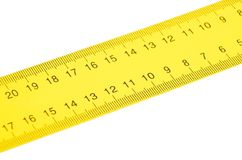 Yellow ruler close up Royalty Free Stock Photo