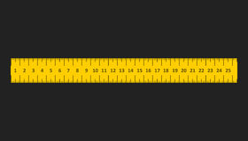 Yellow ruler. Instrument of measurement vector illustration Stock Image