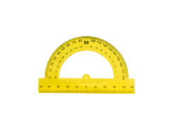 Yellow ruler. On a white background stock image