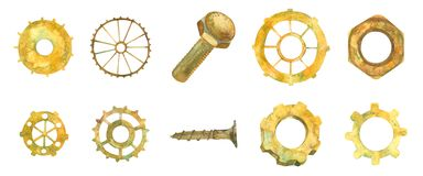 Gear. Gear wheel. Business. Industry hardware. Ellow rusty wheels, nuts, bolt. Watercolor illustratio stock photos