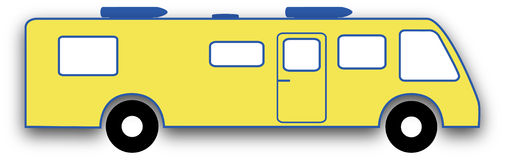 Yellow RV. An illustration of a brightly-colored motorhome Royalty Free Stock Photos