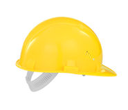Yellow safety builder hard hat isolated with path Royalty Free Stock Photography