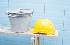 Yellow Safety Helmet At Construction Site Royalty Free Stock Photos