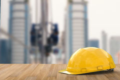 Yellow safety helmet. For construction worker Stock Image