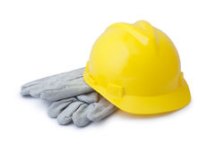 yellow safety helmet and gloves Royalty Free Stock Image
