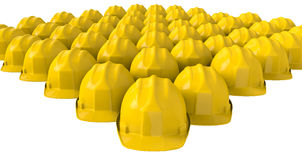 Yellow safety helmet or hard hat on white background Stock Images