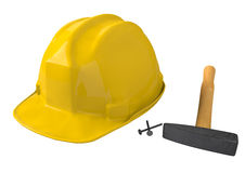 Yellow safety helmet or hard hat on white background Stock Photo