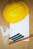 Yellow Safety Helmet Hat and clipboard Stock Photos