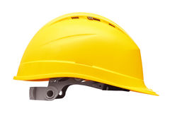 Yellow safety helmet. Isolated on white background Stock Photography