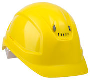 Yellow safety helmet isolated on white background Royalty Free Stock Photography