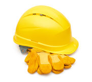 Yellow safety helmet and Protective gloves Stock Photography