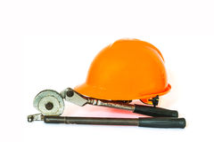 Yellow safety helmet and tool Royalty Free Stock Image