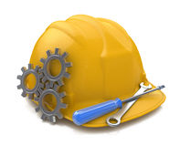 Yellow safety helmet and tools with gears. 3D Icon  on w Royalty Free Stock Photography