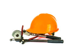 Yellow safety helmet and tools Royalty Free Stock Images