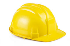 Yellow safety helmet. On the white background Royalty Free Stock Photo