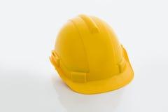 Yellow safety helmet on white background Stock Photo