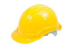 Yellow safety helmet on white background Royalty Free Stock Photo