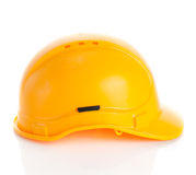 Yellow safety helmet on white background. Royalty Free Stock Image