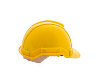 Yellow safety helmet on white background Stock Images