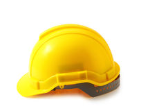 Yellow safety helmet on white clipping path, hard hat isolated. Stock Photo