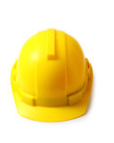 Yellow safety helmet on white clipping path, hard hat isolated. Royalty Free Stock Photos