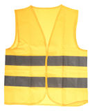 Yellow Safety Vest. Safety vest in yellow with reflective stripes isolated over a white background Stock Images