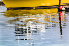 Yellow Sailboat Reflection Westport Grays Harbor Washington Stock Photography