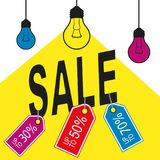 Yellow sale with lamp. S. Special offer tag Royalty Free Stock Image