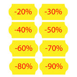 Yellow sale stickers Royalty Free Stock Photography