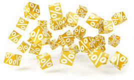 Yellow sales icons floating in the air 3D rendering. Yellow sales icons floating in the air on white background 3D rendering Stock Images