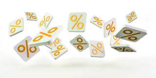 Yellow sales icons floating in the air 3D rendering Stock Image