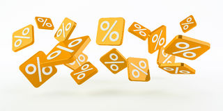 Yellow sales icons floating in the air 3D rendering Royalty Free Stock Image