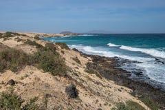 Yellow sand and black stones on the volcanic coastline Stock Photography