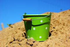 yellow sand and a bucket Royalty Free Stock Photography