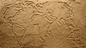 Yellow sand texture (world map) Stock Photography