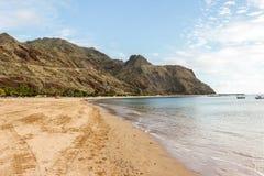 Yellow sand tropical beach Teresitas, Tenerife, Canary Islands Royalty Free Stock Photos