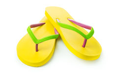 Yellow sandal. Pair of yellow sandal isolated on white background Royalty Free Stock Photo