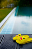 Yellow sandals duckling on table beside the swimming pool Stock Photo