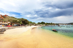 Yellow sandy beach in Buzios, Brazil Royalty Free Stock Images
