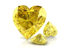 Yellow sapphire. On white background with reflection stock photography
