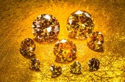 Yellow sapphire diamonds on golden background