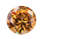 Yellow sapphire diamonds on the white background. With clipping path Stock Photography