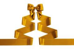 Yellow satin ribbon with bow Stock Photo