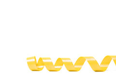 Yellow satin ribbon. On white background. studio shot Royalty Free Stock Photo