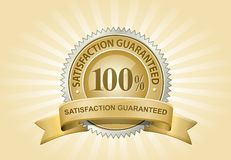 Yellow Satisfaction Guaranteed Sign Stock Image