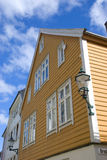 Yellow scandinavian house in norway Stock Images