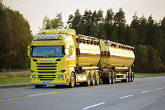 Yellow Scania R580 Tank Truck on the Road in Evening Royalty Free Stock Photo