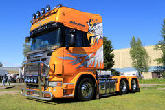 Yellow Scania V8 Truck in a Show Royalty Free Stock Image
